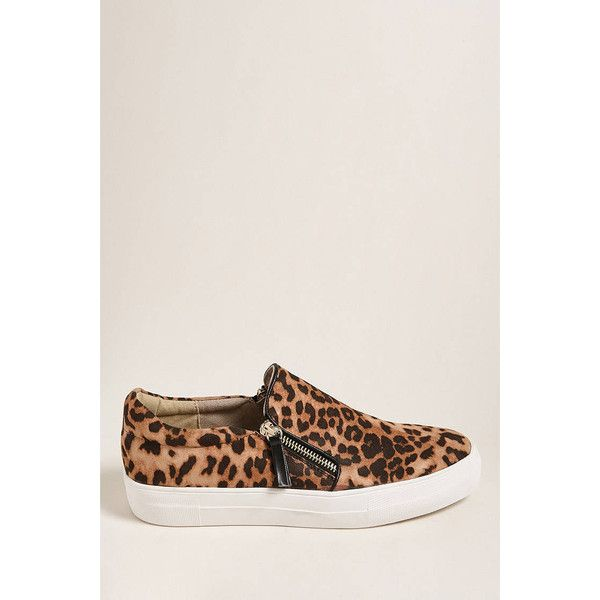 Forever21 Not Rated Cheetah Print Low-Top Sneakers ($48) ❤ liked on Polyvore featuring shoes, sneakers, forever 21 sneakers, low profile sneakers, forever 21 shoes, low profile shoes and platform sneakers