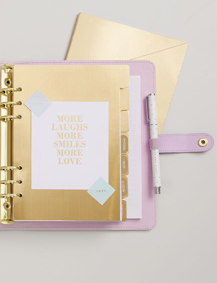 Be inspired to add a beautiful and feminine style to your days and get organised in style with this beautiful Lilac Personal Planner featuring gold polka dots.