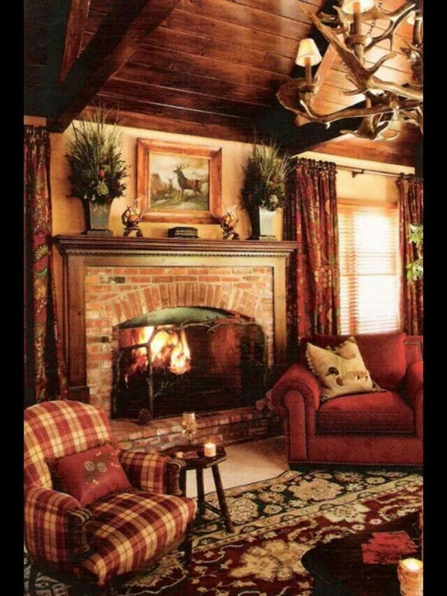 A Country Lookwarm Colors And Wood Details Plaid Living RoomRustic RoomsRustic