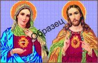 Схема для вышивки бисером на габардине - «Непорочное сердце Девы Марии и Иисуса»