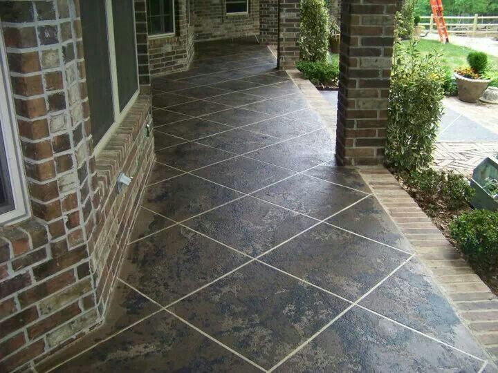 Front porch stained concrete by premier concrete designs for Stained front porch