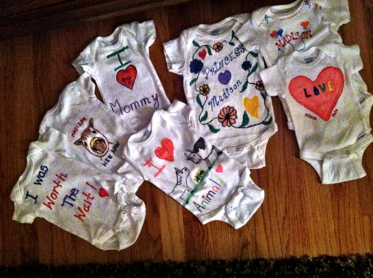Baby Shower, Decorated Onesies