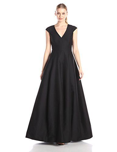 HALSTON HERITAGE Women's Cap Sleeve V-Neck Silk Faille Gown - http://darrenblogs.com/2015/12/halston-heritage-womens-cap-sleeve-v-neck-silk-faille-gown/