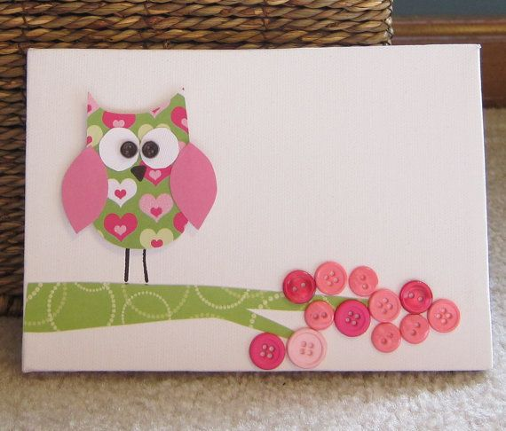 Childrens Room Canvas Art, Nursery decor,  5 x 7, owl , tree, cute as a button, pink and lime green via Etsy