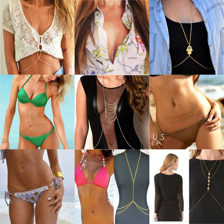 New Fashion Jewelry Bikini Harness Waist Belly Link Body Chain Necklace #Unbrand #Chain