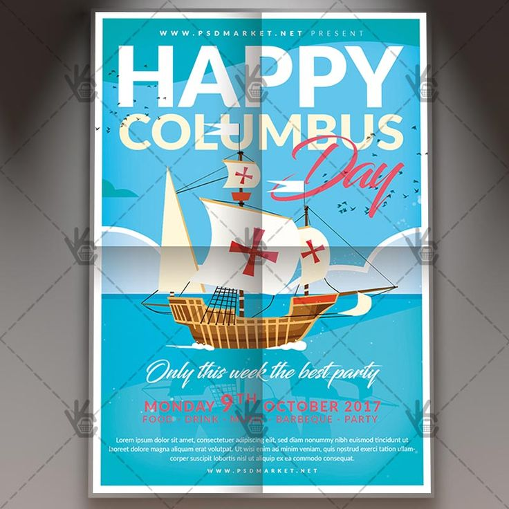 Happy Columbus Day - American Flyer PSD Template. #american #celebration #columb #columbusday #ocean #sailor #sea #ship #swimming #weekend  DOWNLOAD PSD TEMPLATE HERE: https://www.psdmarket.net/shop/happy-columbus-day-american-flyer-psd-template/  MORE FREE AND PREMIUM PSD TEMPLATES: https://www.psdmarket.net/shop/