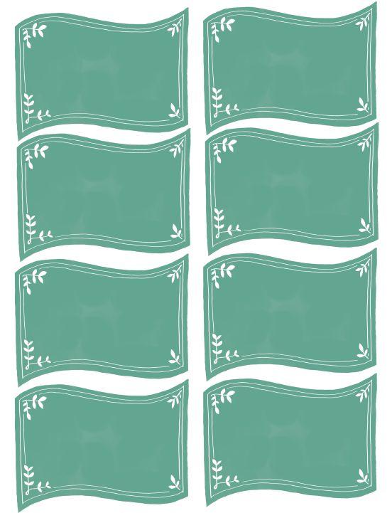 Free Blank Green Teal Chalkboard Labels