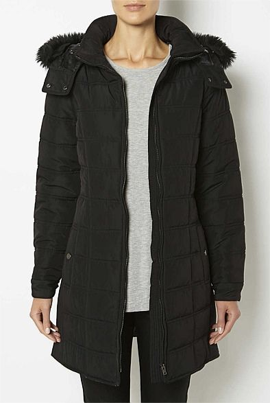 Witchery Longline Puffer Coat In Black Clothing