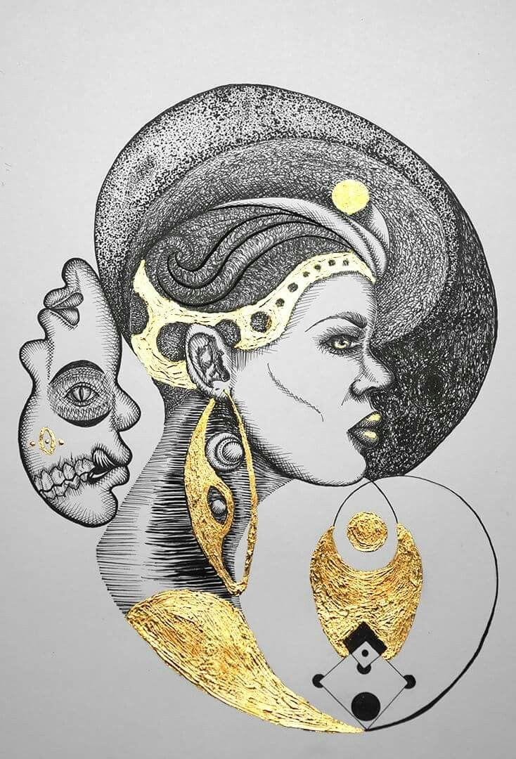Reina del oeste. Rapidografos y laminilla de oro. Oscar_ilustra