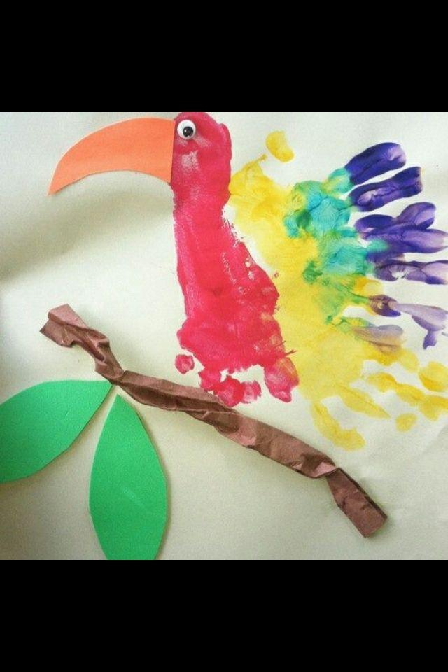 Kids Handprint And Footprint Ideas Parrot Foot Hand Prints