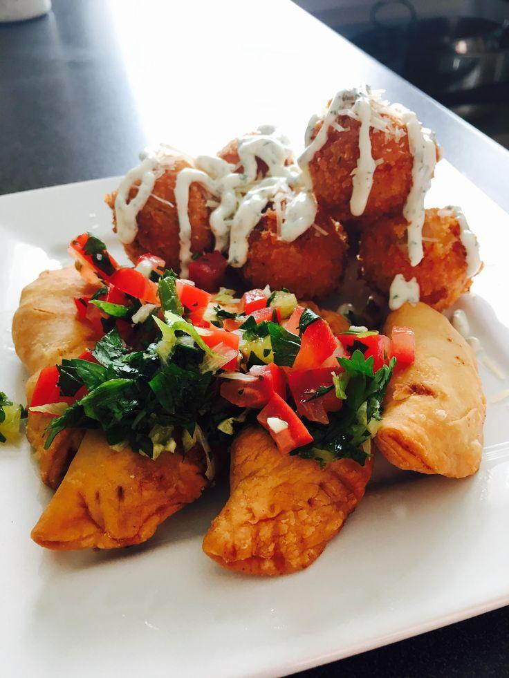 [homemade] Chorizo Empanadas & Truffle Mash Potato Balls