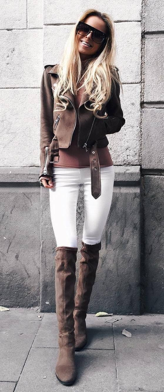 fall fashion inspiration / moto jacket + top + white skinnies + brown boots