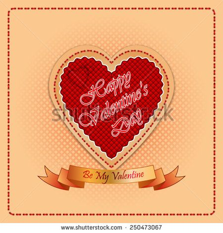 Vintage Happy Valentine's Day background with By My Valentine text on ribbon