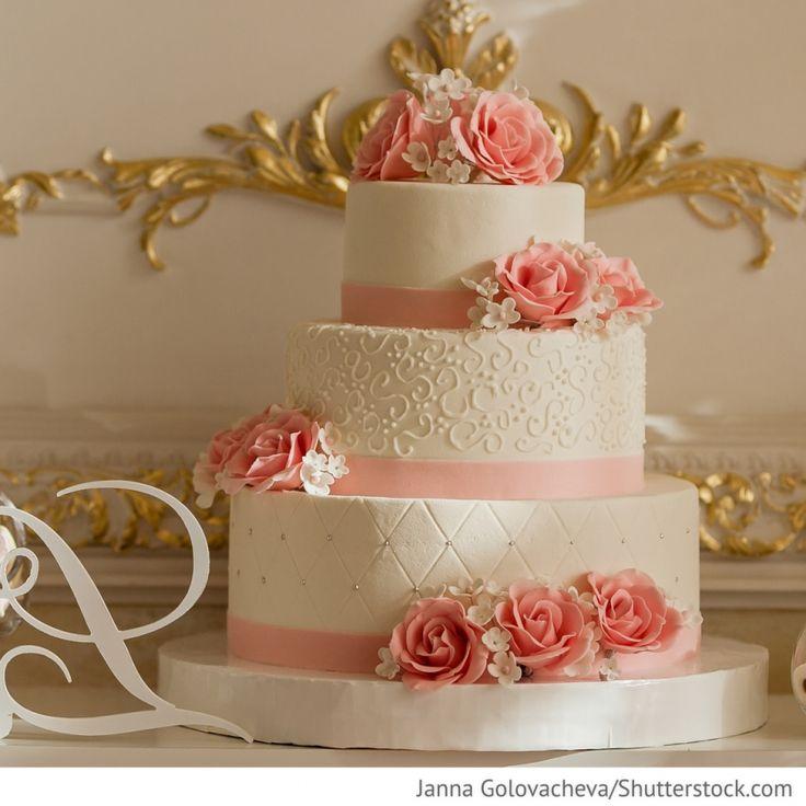 Hochzeitstorte 3 stöckig mit rosa Rosen für Hochzeit