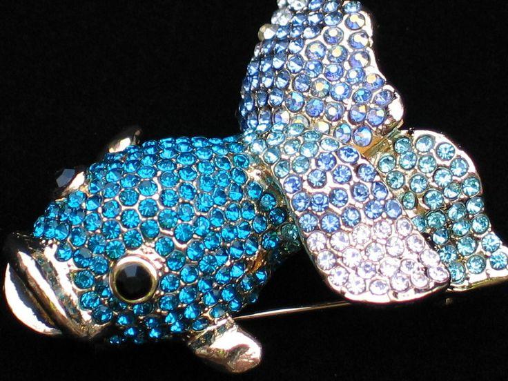 AB TEAL BLUE FAN TAIL SWIMMING KOI SHUBUNKIN GOLDFISH FISH PIN BROOCH JEWELRY #Unbranded