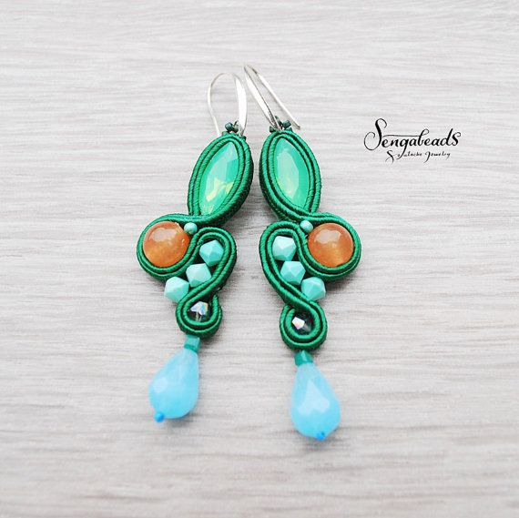 Forest green soutache earrings with sterling silver by Sengabeads