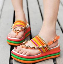 Wedge into the 2015 summer national wind beaded fashion joker color sponge at the end of the rainbow clip toe platform sandals