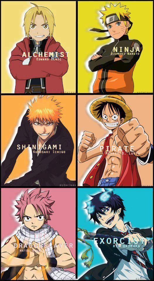 Anime/manga: Fullmetal Alchemist (Brotherhood), Naruto (Shippuden), Bleach, One Piece, Fairy Tail, and Blue Exorcist.