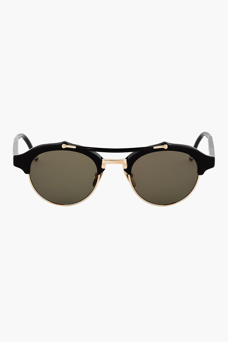 2919454264a THOM BROWNE BLACK   12K GOLD double-bridge SUNGLASSES - Sale! Up to 75%  OFF! Shop at Stylizio for women s and men s designer handbags