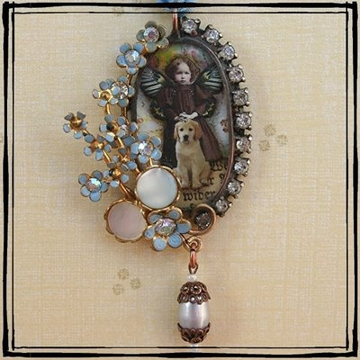 """""""Fairy Child and her dog"""" Soldered altered art pendant"""