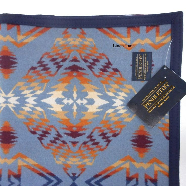 """One Throw Blanket 50""""x68"""" in the Thunder and Earthquake design in Desert Sky with bound edges in blue. THUNDER AND EARTHQUAKE. This intricate blanket pattern incorporates repeated triangular and zigzag designs often seen in Yurok basketry and the ombred effect emulates the mighty shaking of Earthquake!   eBay!"""