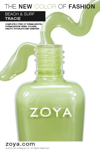 RE-PIN ME! Zoya Nail Polish in Tracie from the Beach Collection http://www.zoya.com/content/38/item/Zoya/Zoya-Nail-Polish-Tracie-ZP618.html?O=PN120521MN00139: Green Color, Spring Color, Nail Polish, Summer Color