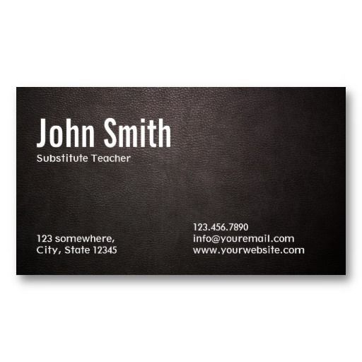 20 best substitute teacher business cards images on pinterest card dark leather substitute teacher business card colourmoves