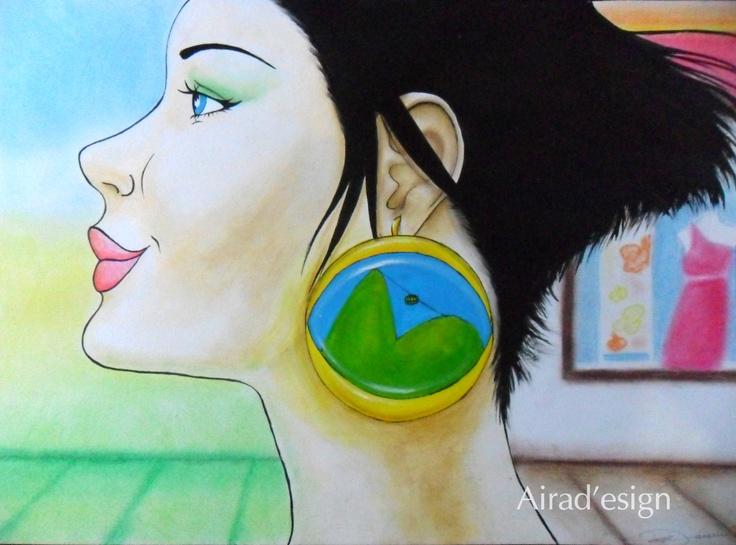 Desenho feito para estampar bolsa da Akanitz - apenas o rosto. O impressionante é que se parece por demais com a dona da bolsa, cujo rosto eu tinha visto antes de desenhar!