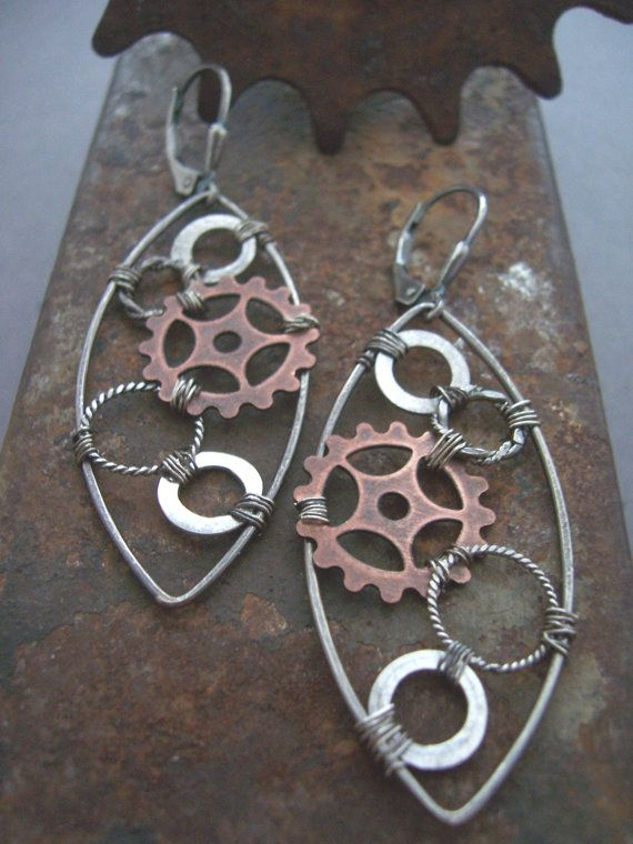 Steampunk Sterling Silver and Copper Gear by dnajewelrydesigns