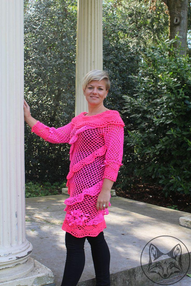Neon pink gehaakte tuniek - La Volpe Moda