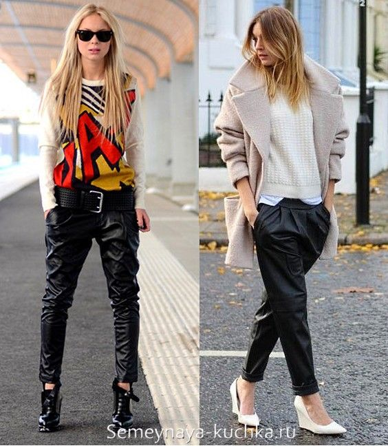 •Черные брюки + Джемпер летучая мышь, одетый поверх хлопковой тонкой майки + Широким ремень + Ботильоны •Черные брюки + Рубашка + Джемпер + Пальто (прямого кроя или пальто-кокон): если пальто и верх комплекта светлого цвета, то обувь может быть легкая, например туфли.