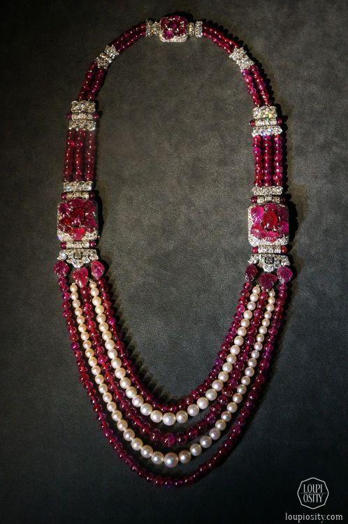 Cartier, sautoir, 1930, platinum, diamonds, rubies, pearls