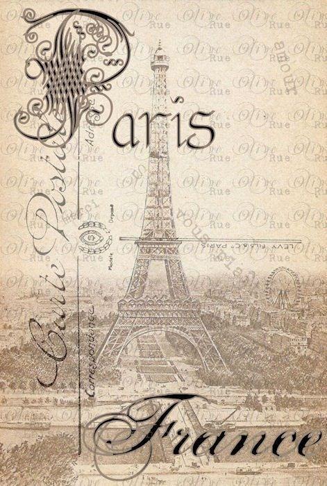 Vintage Postcard Of Paris Templates Printables