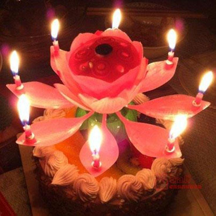 """Музыкальная раскрывающаяся свеча на торт """"Цветок лотоса"""""""