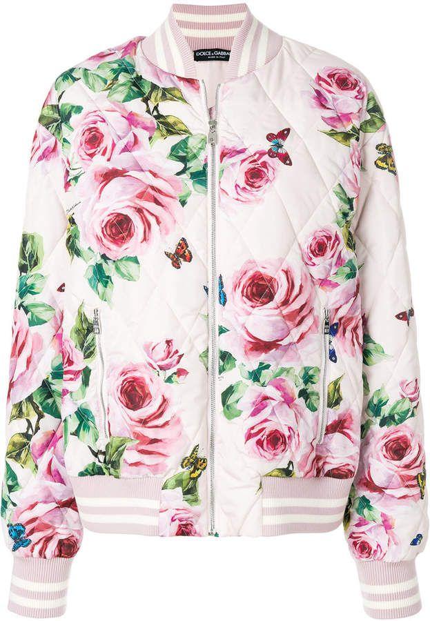 Dolce & Gabbana womans spring romantic pink rose print bomber jacket
