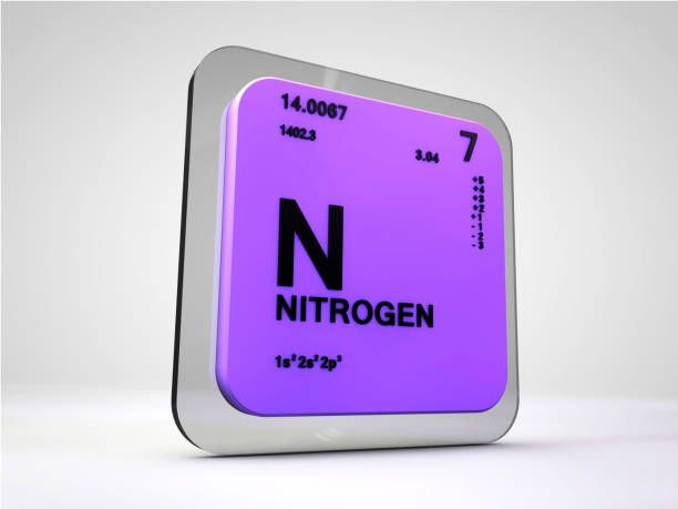 nitrogen n chemical element periodic table 3d render