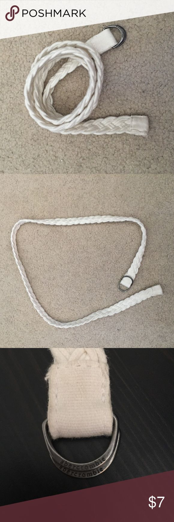 Abercrombie White Braided Belt White braided belt. Super cute and goes with any bottoms. There is slight dark color transfer on the inside of the belt due to wearing with darker bottoms but it cannot be seen while wearing. This item has been barely worn and is in great condition. Abercrombie & Fitch Accessories Belts