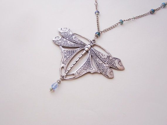 Art Nouveau Dragonfly Necklace  Statement by ValkyriesAccesories, €34.00