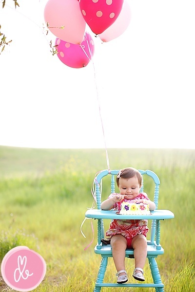 How cute is this?! I love the nature background the color of the highchair just everythig aout this photo!   year old  photos ideas | One Year Old Shoot Ideas / 1st birthday
