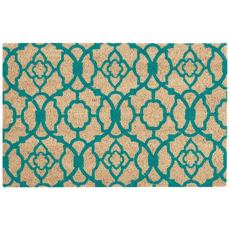 Waverly Greetings Lovely Lattice Coir Doormat, Turquoise/Blue (Turq/Aqua)