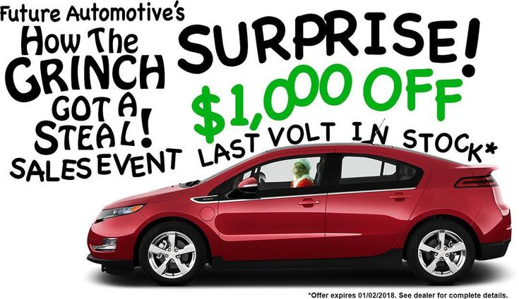 Surprise! Were giving $1000 off our last Chevy Volt before the New Year! Call 1-888-757-1936 before its gone!  #futureautomotive #electriccar #electricvehicle #pluginhybrid #hybridcar #greencar #greenenergy #evcar #dealership #cardealership #nissan #nissanleaf #chevy #chevyvolt #toyota #prius #tesla  #auto #cars #vehicle #blog #socal #southerncalifornia #losangeles #thevalley #vannuys #burbank #hollywood
