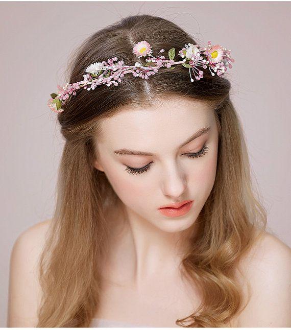Wedding Floral Crown Pink Flower Headband Floral Head by TiffanyGu