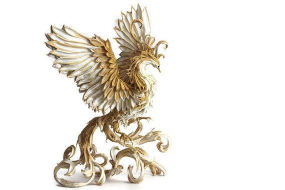 Phoenix, Vogel Phönix, Paradiesvogel, Phoenix Figur, Skulptur von Firebird, Firebird-Statue, Beige, braun