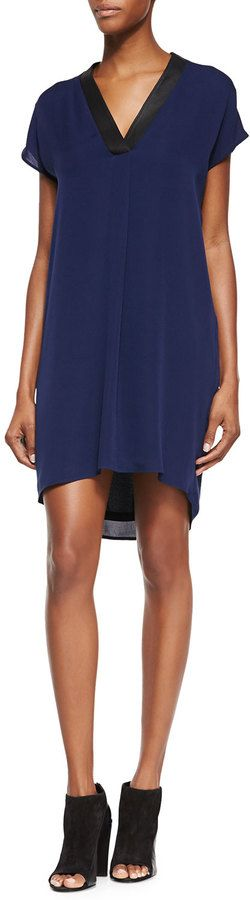 Vince Leather-Trim Popover Tunic/Dress, Blue Marine