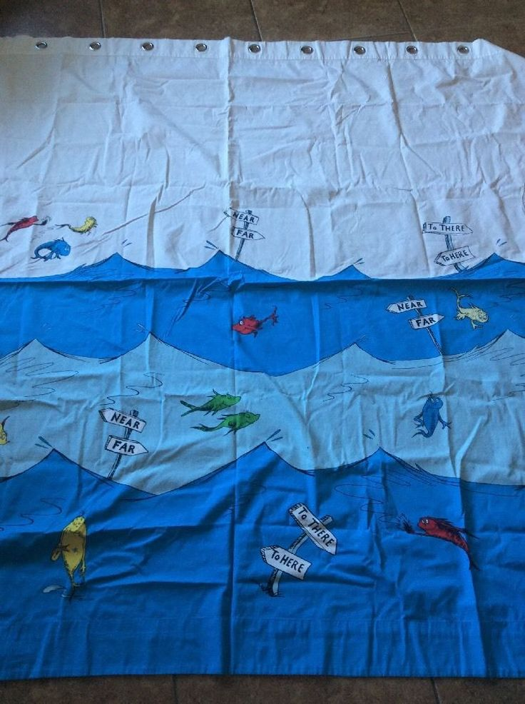 Pottery Barn Kids DR SEUSS SHOWER CURTAIN One Fish Two Red Blue - RARE RETIRED #PotteryBarnKids