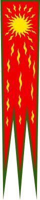 """The Oriflamme (from Latin aurea flamma, """"golden flame"""") was the battle standard of the King of France in the Middle Ages. It was originally the sacred banner of the Abbey of St. Denis,[1] a monastery near Paris.  In French, the term """"oriflamme"""" has come to mean any banner with pointed ends; by association with the form of the original."""