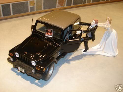 Best Wedding Cake Topper Ever ....except needs to have the bride dragging the groom towards the Jeep