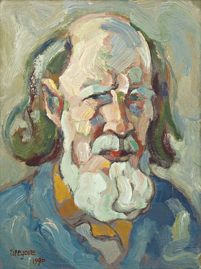 One of my favourite artists of all time: Gregoire Boonzaier (1909 - 2005) Self-portrait - 1996 Oil on board 40 x 30 cm Signed and dated bottom left Inscribed with 'An hour's sketch! + a lifetime's struggle!' on the back Available for sale at http://www.johansborman.co.za. Any sponsors feeling charitable - I'll be most grateful!