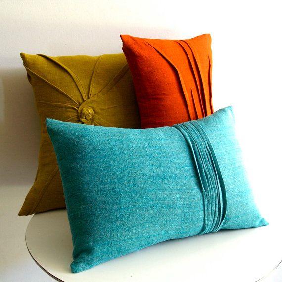 Pleated linen pillows
