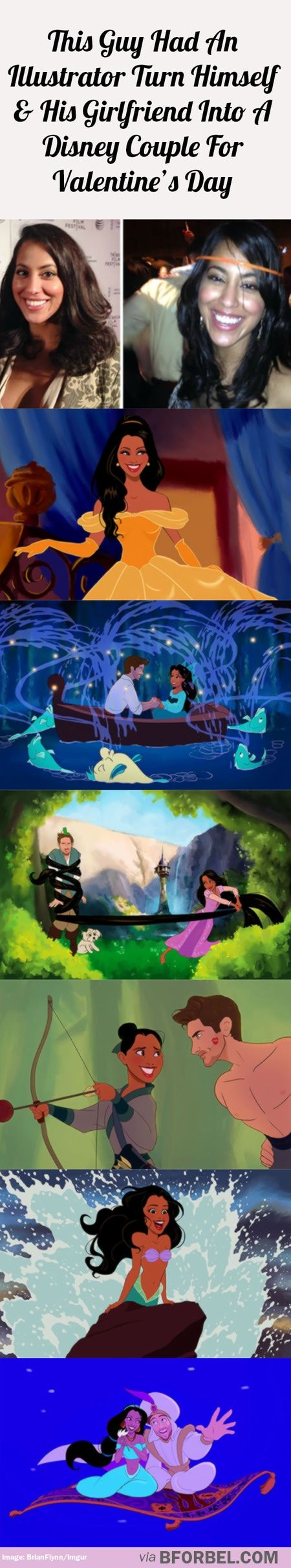 This guy had an illustrator turn himself and his girlfriend into a Disney couple for Valentine's Day…